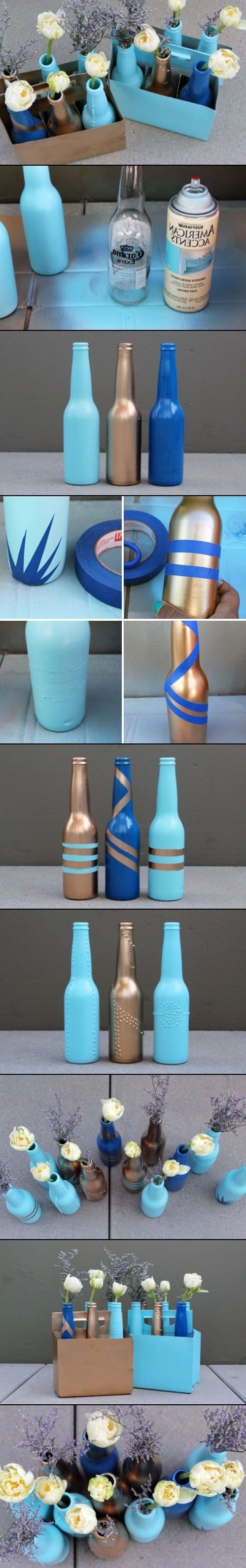 diy beer bottle vases ideas apartment pinterest