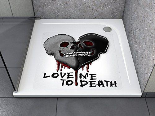 """Anti-Rutsch Aufkleber """"Skulls Heart (quadratisch)"""" Antibakteriell, selbstklebend, leicht zu installieren und rückstandslos entfernbar. Ersetzt herkömmliche, schmutz-ansetzende Duschmatten. Für Badewanne und Dusche."""