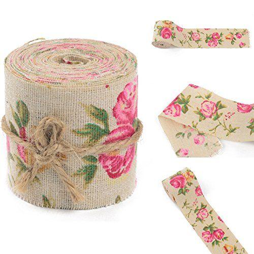 AUAUDATE 3M Rose Toile Jute Imprimé Floraux Ruban Tissu Mariage Artisanat Décor…