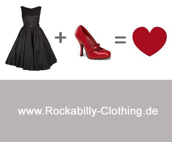 Satin Swing Kleid gepaart mit roten Lackpumps. Das perfekte Outfit für Rockabellas und Pin-Ups. Rockabilly Dresses, Swing Dresses