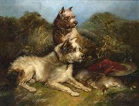 Dos terriers en un paisaje by George Armfield