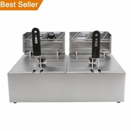 5000w Electric Countertop Deep Fryer Dual Tank Commercial