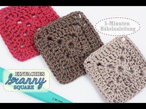 Einfaches Granny Square Hakeln Eckig Fur Anfanger Geeignet Youtube Quadratische Muster Hakeln Hakeln Quadrate Hakeln
