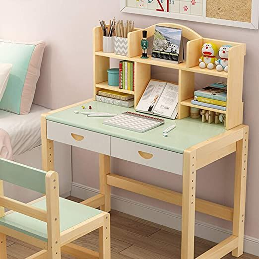Lchao Furniture Wooden Children S Desk Student Desk And Chair Set Student Study Computer Workstation In 2020 Childrens Desk Desk And Chair Set Childrens Desk And Chair