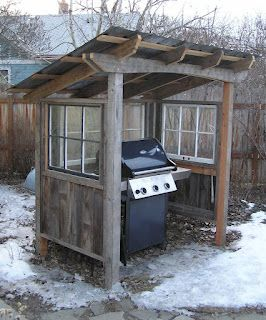 New england 39 s version of an outdoor kitchen small budget for Outdoor kitchen shed
