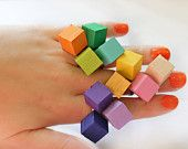 Neon Bright Color Wood Geometric Ring: Neon Bright, Geometric Rings, Lovely Rings, Rings Yum, Wooden Rings, Block Rings, Bright Colors