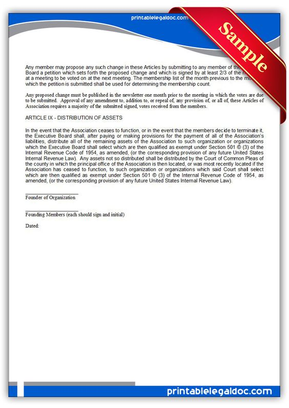 Free Printable Articles Of Association Sample Printable Legal - microsoft articles of incorporation