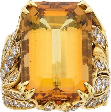 Topaz, Diamond, Gold Ring #heritageauction