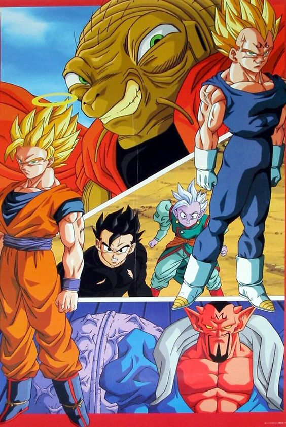 Vegeta, Goku, Gohan, Supreme Kai, Babidi, and Dabura
