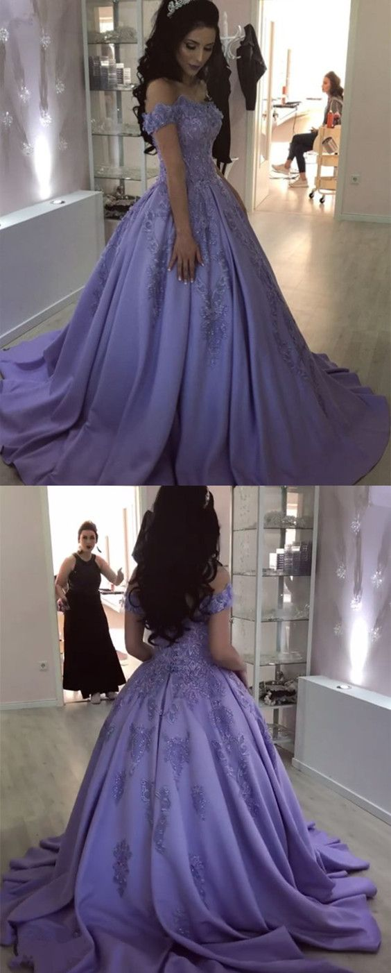 Lilac Lace Flowers Beaded V Neck Ball Gown Satin Wedding Dresses