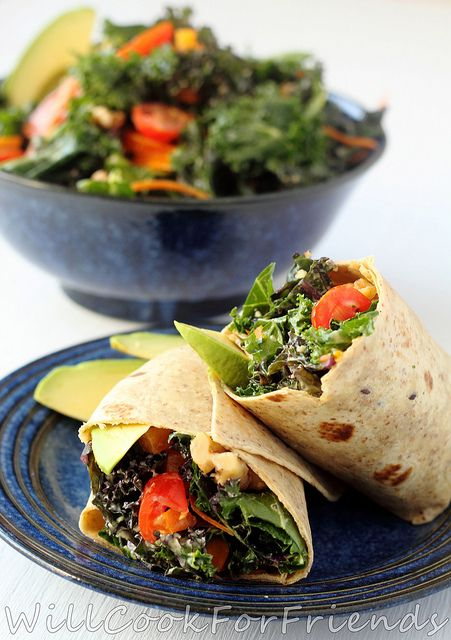 This Tahini and Avocado Kale Salad Wrap is making our mouths water ever-so much.