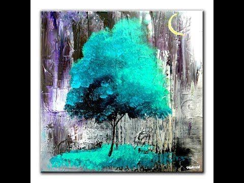 3 Blue Trees On Black And White Ice Painting Video Step By Step