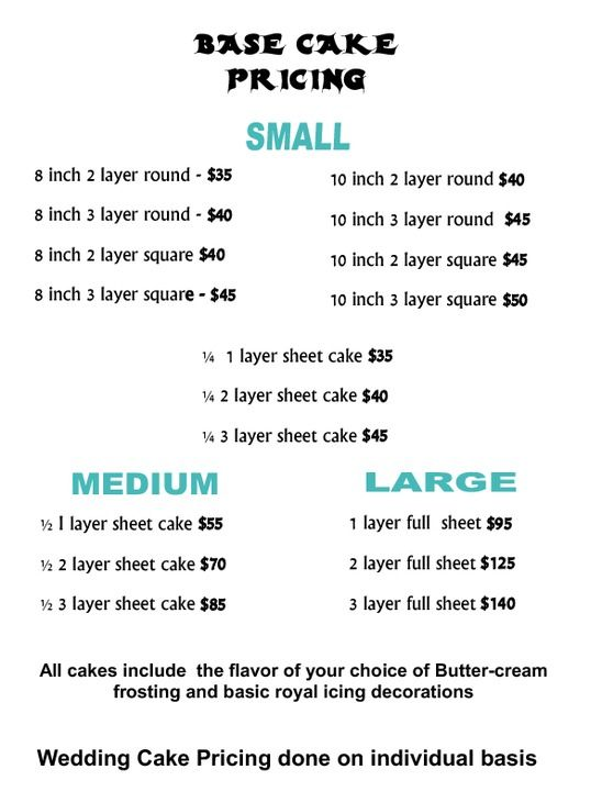 Cake Prices Guide Cake Price List screenshot recipes - price chart templates