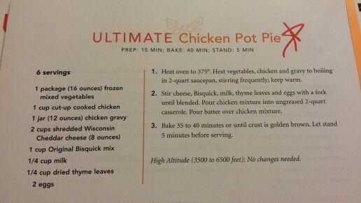 bisquick chicken pot pie