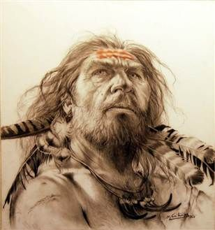 """""""An artist's depiction of a Neanderthal decorated with feathers."""" [Same photo pinned already, but with a different article.] """"Neanderthals were fashionable in feathers. [New discovery shows] our closest known extinct relatives were capable of creating art.""""  Article from 2011.:"""