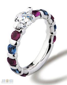 Gebrüder Schaffrath Liberté 88 Kollektion - Ring aus 950/- Platin mit einem Brillanten im Zentrum sowie blauen und pinkfarbenen Saphiren.