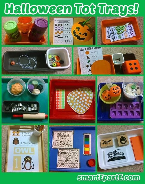 Celebrate Halloween with a set of Halloween tot school trays!
