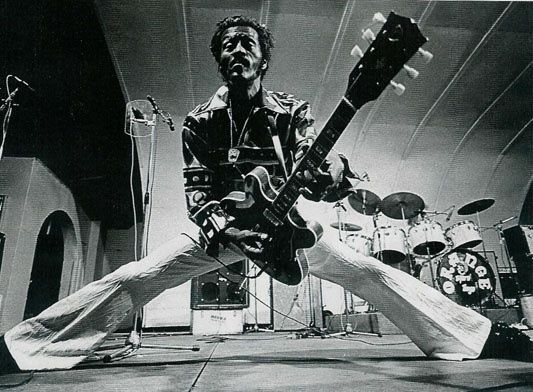 The legendary Chuck Berry doing his thing on stage: