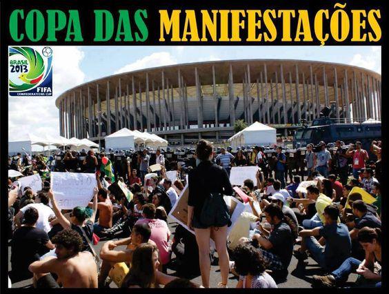 Manifestantes na abertura da Copa das Confederações.