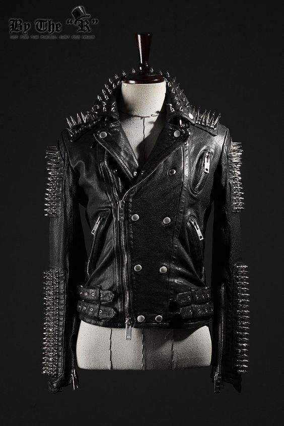 New Mens Punk Full Heavy Metal Long Spiked Studded Black Leather Jacket