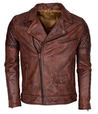 Brown Waxed Brando Designer Italian Leather Jacket at Amazon Men's ...