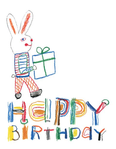 Creative Crayon Drawing Happy Birthday Message With Bunny And A
