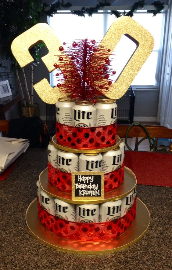 DIY Beer Cake- 30 pack for 30th Birthday- Miller Lite-