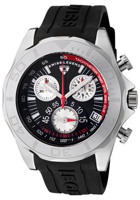 (Limited Supply) Click Image Above: Swiss Legend 18010-01 Men's Tungsten Chronograph Black Dial Black Silicone Watch