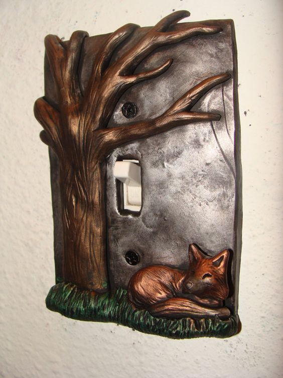 Fox tree Polymer Clay Light Switch Cover Cute by wcgoods on Etsy, $27.00