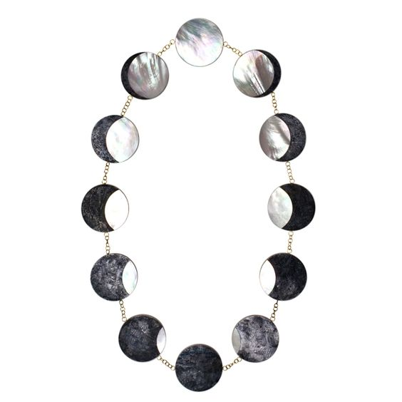 PHILIP SAJET Silver Gold and Mother of Pearl Eclipse Necklace