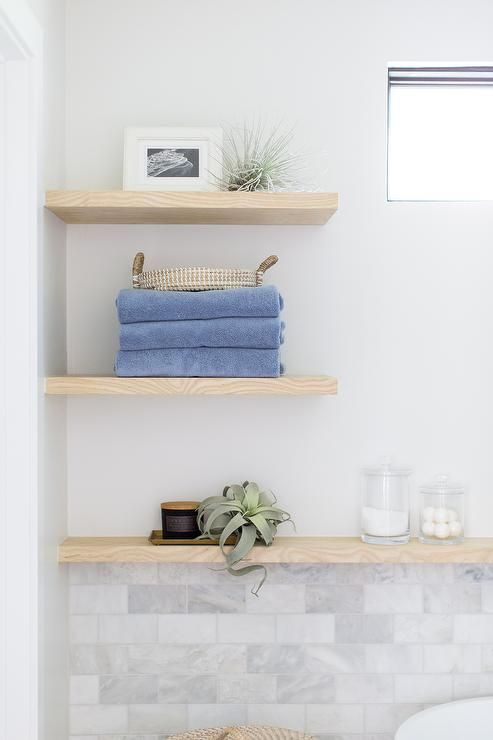 Cottage Bathroom With An Oak Wooden Floating Wall Shelves Above