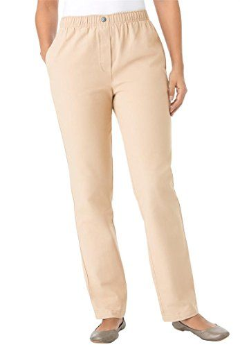 Womens Plus Size Jean Pull On Elastic Waist New Khaki18 W ...