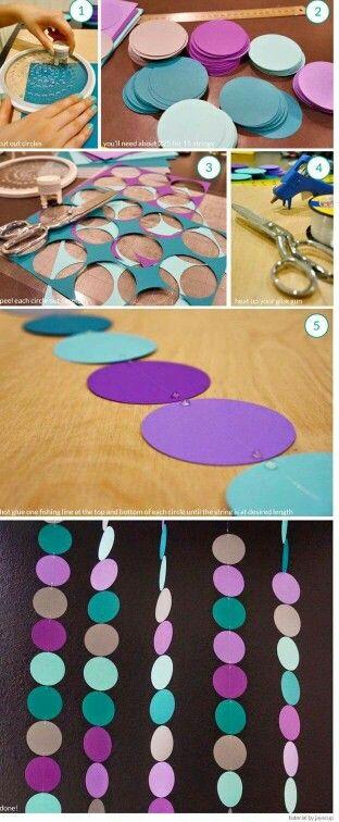 Decoración guirnaldas simples con círculos de cartulina: