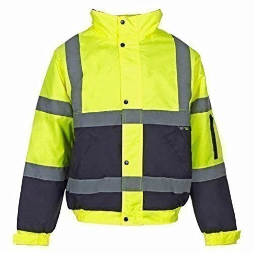 From 19 99 Hi Viz Bomber Jacket Two Tone Reflective Tape Waterproof Quilted Work Jacket Coat High Vis Saf Casual Bomber Jacket Outfit Bomber Jacket Men Jackets