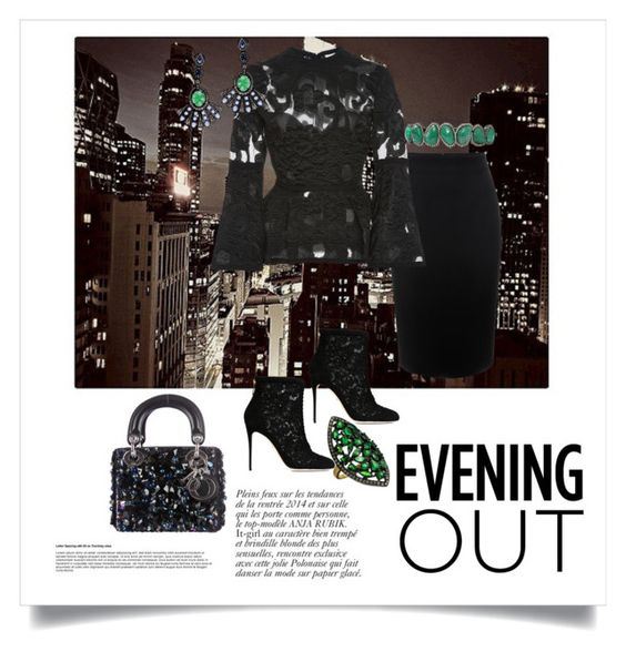 """Evening Out"" by shoecraycray ❤ liked on Polyvore featuring Alexander McQueen, Elie Saab, Dolce&Gabbana, Sutra, Sutra Jewels, Divya Diamond, Christian Dior, Anja, women's clothing and women's fashion"