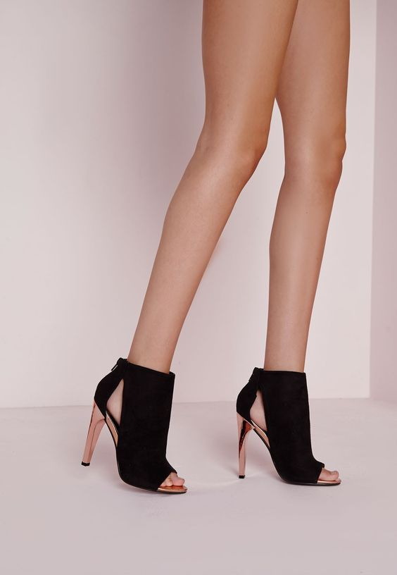 Bottines peep toe à talon contrastant Chaussures Talons hauts Missguided