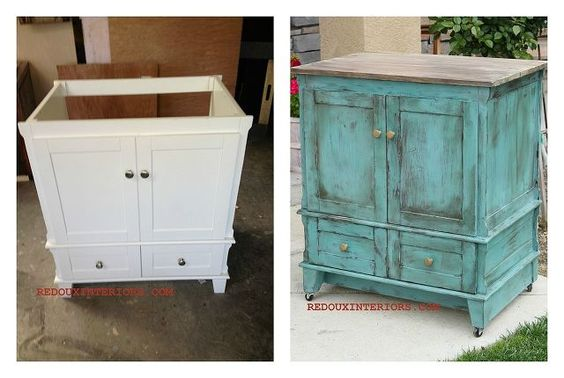 the best diy s upcycled furniture projects and tutorials by redoux, painted furniture, repurposing upcycling, I used a free to me never used Bathroom Vanity and transformed it into a rolling kitchen island Added a new top with old wood a piece of MDF to the back and wheels Easy two step CeCe Caldwell s paint treatment and no primer