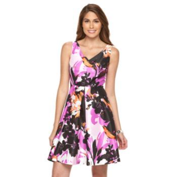 Petite+Suite+7+Floral+Taffeta+Fit+&+Flare+Dress