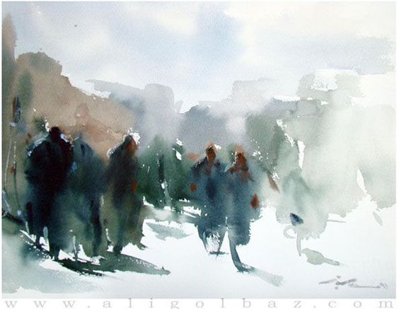 Golbaz Ali Watercolor Design Composition Figures