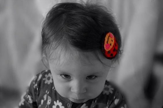 Baby hair clip lady bird, Red and Black wool felt hair clip on Etsy, £6.00