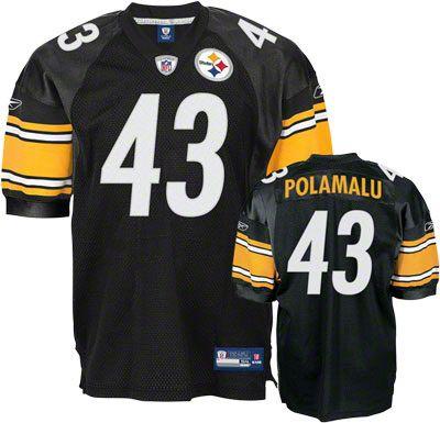 7e5a00d2aaa Reebok Pittsburgh Steelers Troy Polamalu 43 Black Authentic Jersey Sale