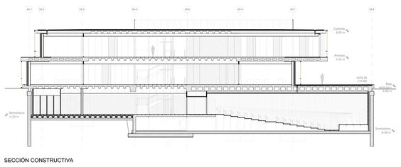 Constructive section. BBVA Campus by Enguita Lasso de la Vega. Click above to see larger.