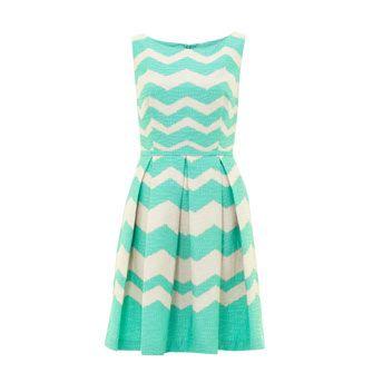 Green Zig Zag Striped Flared Dress