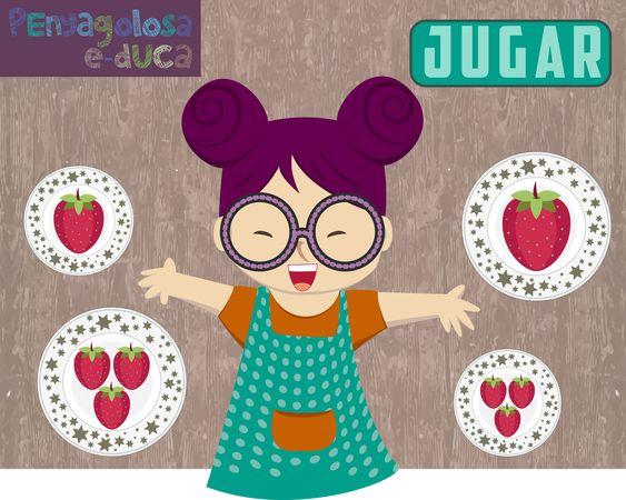 Encuentra los platos que tienen la misma cantidad (memory 1-5 fruta igual)