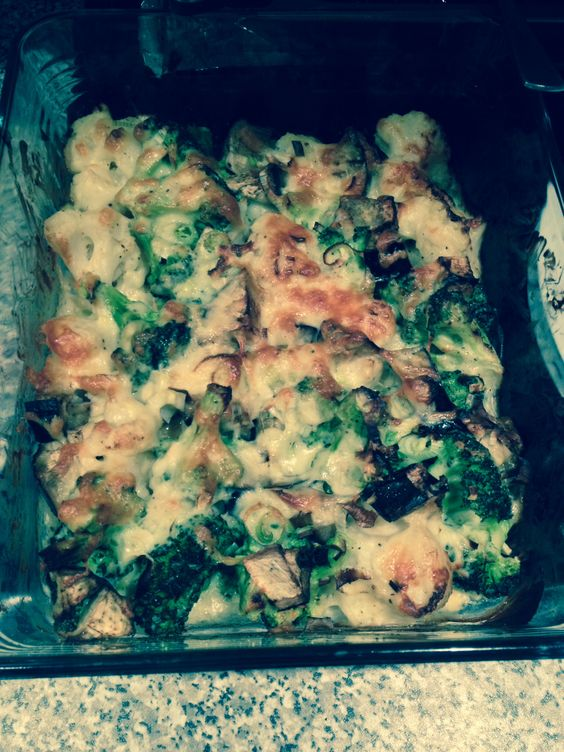 My version of cauliflower and broccoli bake with added aubergine, spring onions and a sprinkling of cheddar