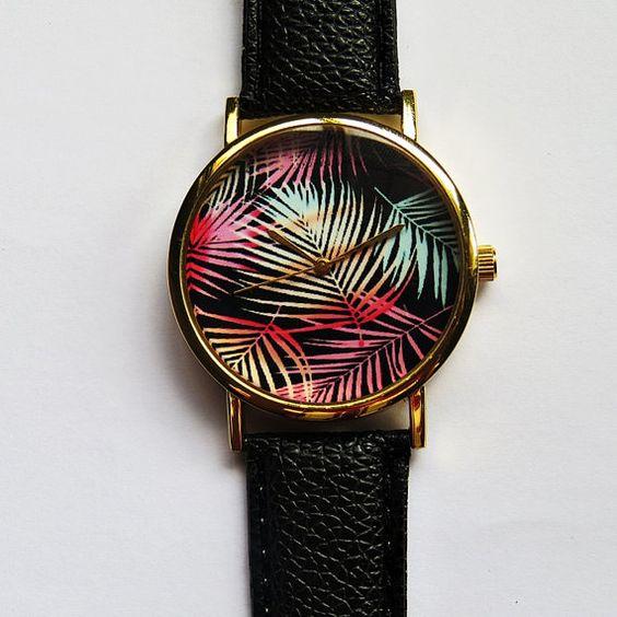 Palmier Tropical ombre laisse regarder, Style Vintage cuir Watch, montres femmes, Mens Watch, petit ami montre, unisexe