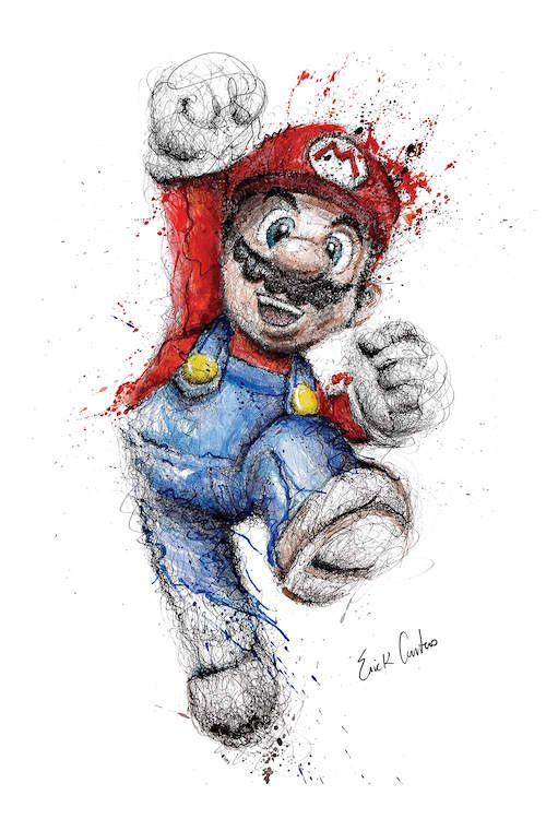 Mario Canvas Art Print By Erick Centeno Icanvas In 2021 Super Mario Art Mario Art Scribble Art