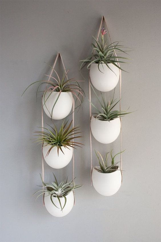 String of 3 porcelain containers that hangs on your wall.  Use it as storage for pencils or notions or use it as a planter.  Perfect for air plants or an herb garden.