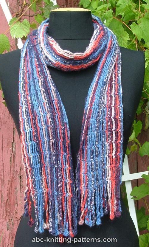 Knitting Patterns For Scarves Using Sock Yarn : ABC Knitting Patterns - Chain Scarf with Crochet Fringe - A way to use the so...