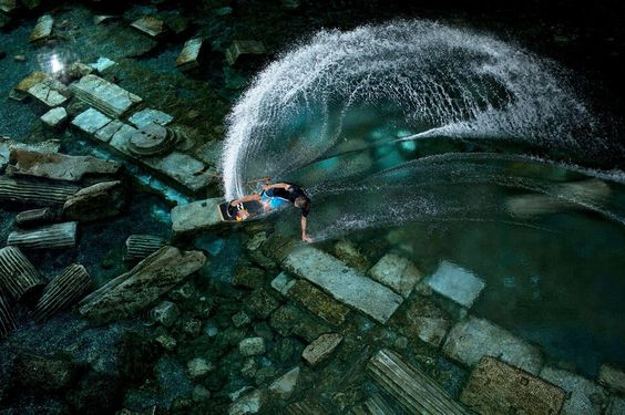 Wild Wakeskate Session in Ancient Cleopatra Pool#http://www.redbull.com/us/en/adventure/stories/1331761688629/brian-grubb-wakeskating-cleopatra-pool